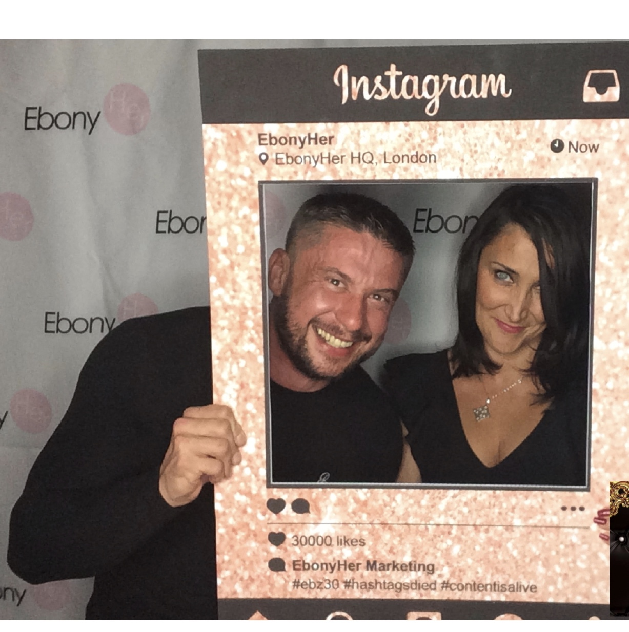 Instagram frame with Agnes and Peter at event